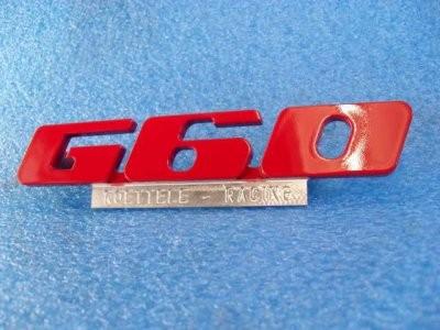Emblem für den G60 Kühlergrill aus Aluminium mit Werbung